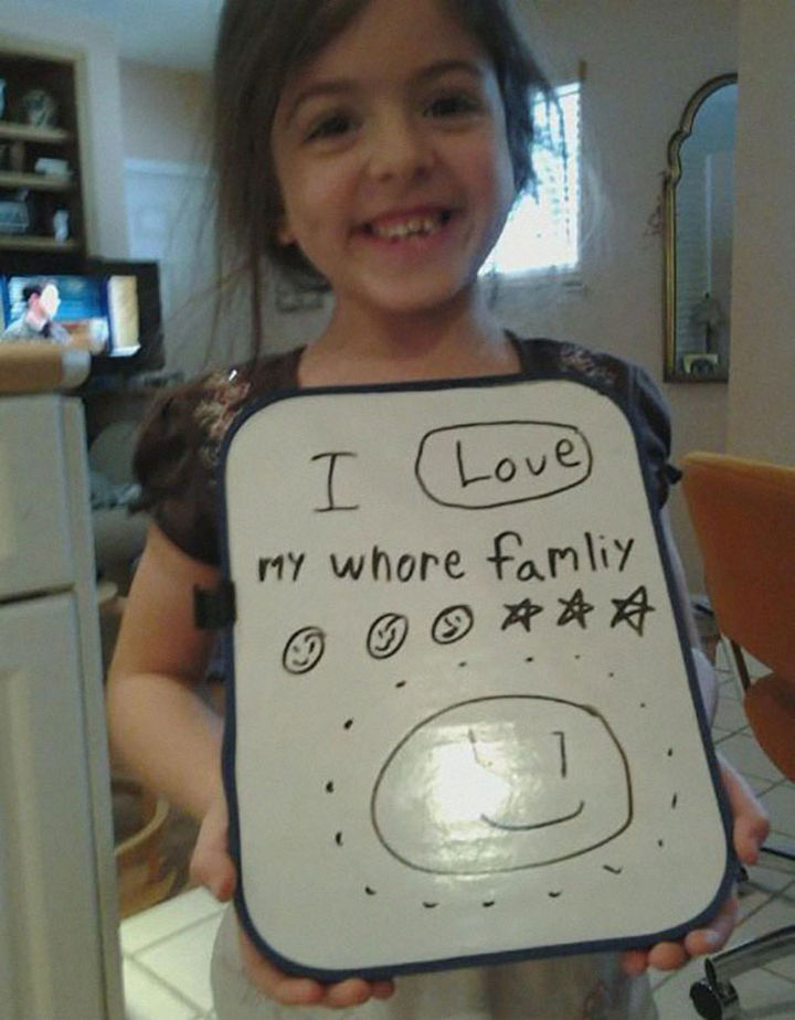 """18 Funny Spelling Mistakes - """"I love my WHOLE family?"""""""