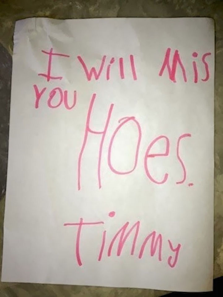 """18 Funny Spelling Mistakes - """"I will miss you HOUSE?"""""""