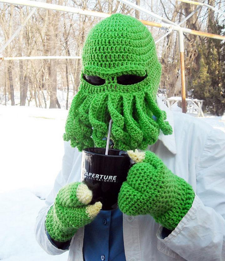 21 Crocheted Winter Hats - Cthulhu Ski Hat.