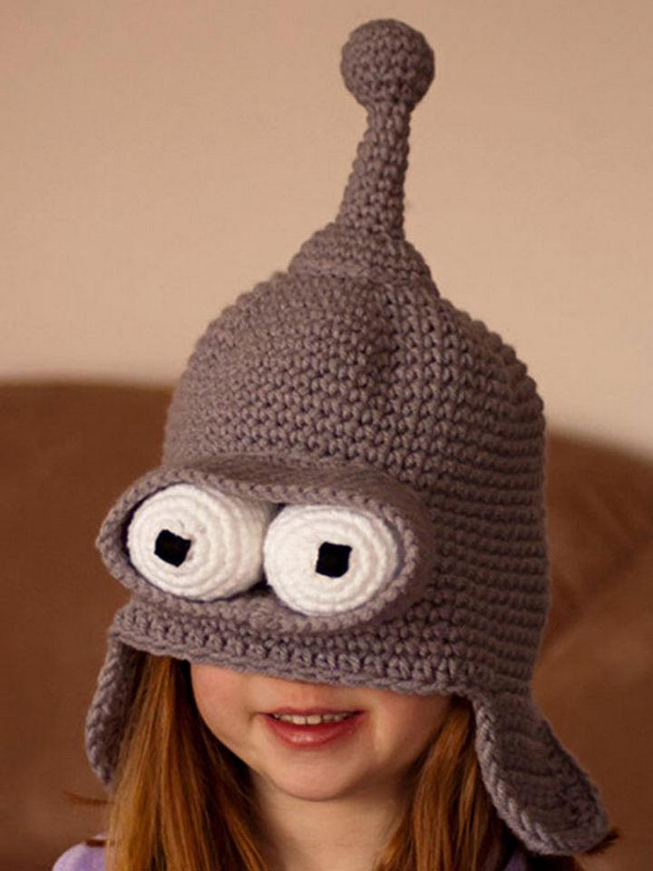 21 Crocheted Winter Hats - Rude Robot Hat.