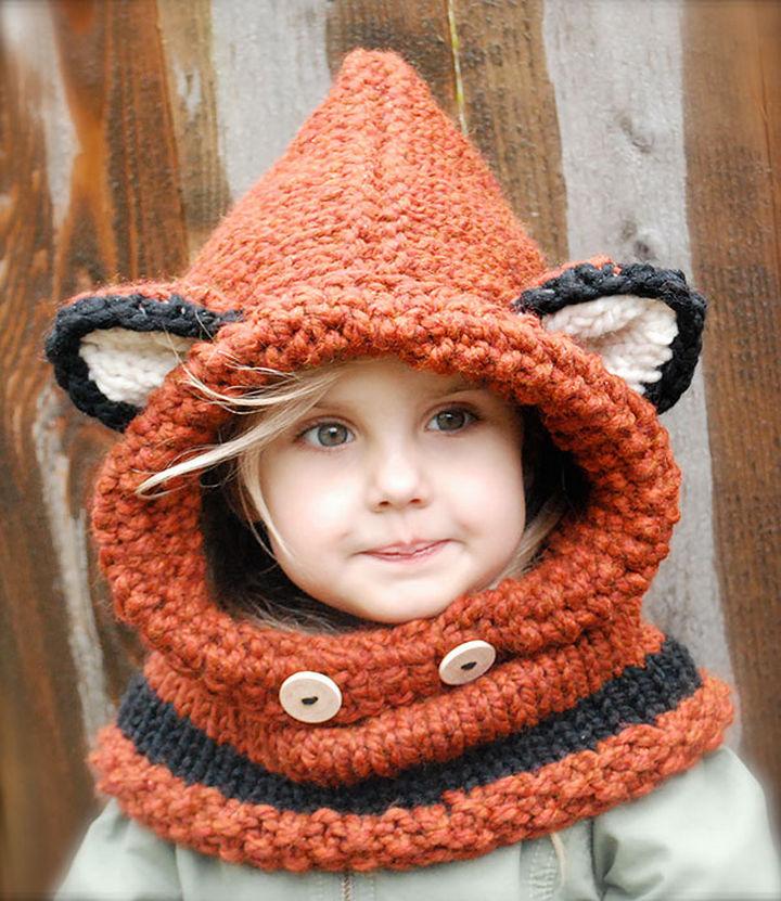 21 Crocheted Winter Hats - Failynn Fox Cowl.