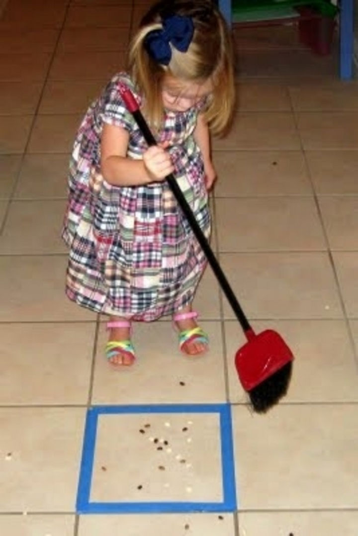24 Life Hacks for Kids - Make cleaning fun by turning into a game.