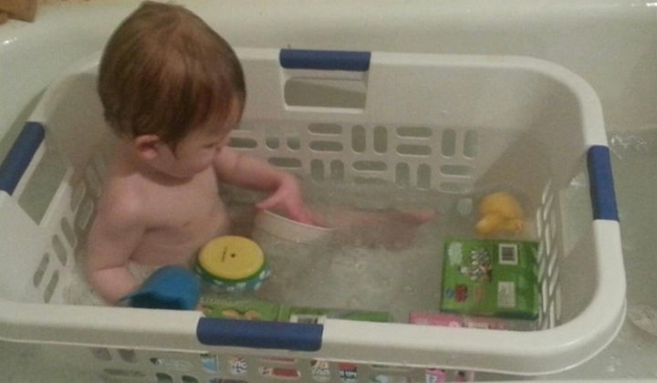 24 Life Hacks for Kids - Make playtime in the bathtub more fun by keeping their toys within arm's reach by using a laundry basket.