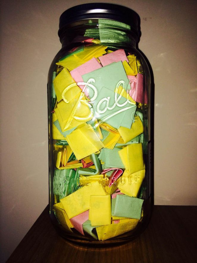 "The ""365 Jar"" contains 365 notes with memories, uplifting quotes, photos, and personal gifts. Creativity is key and the possibilities are endless."