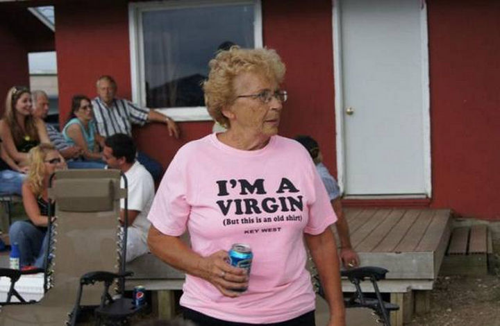 11 Seniors Wearing Funny Shirts - Read the fine print.