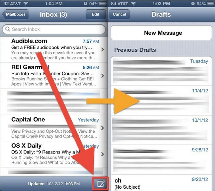 19 iPhone Tips and Tricks - Get quick access to your email drafts.