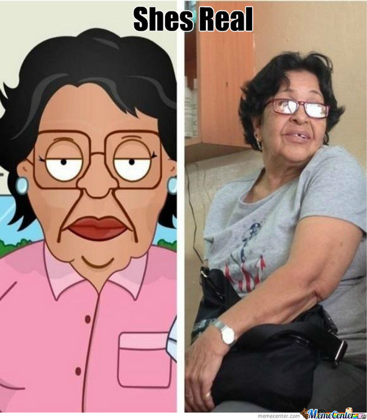 25 People That Look Like Cartoon Characters In Real Life - Rosa of Family Guy.