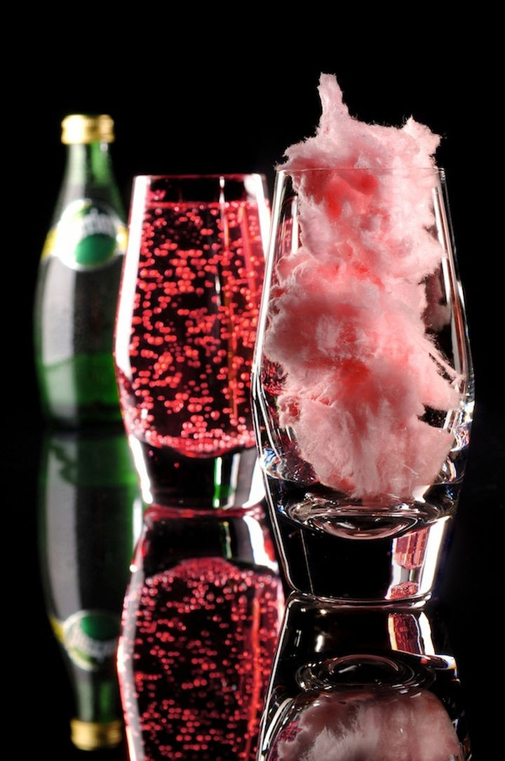 16 Party Hacks - Add cotton candy and fill glass with Perrier for a magic cocktail.
