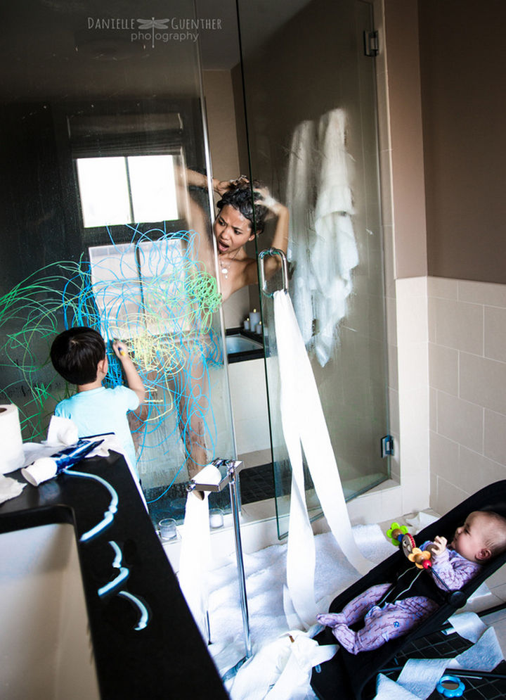 A typical day in the washroom when you have kids.