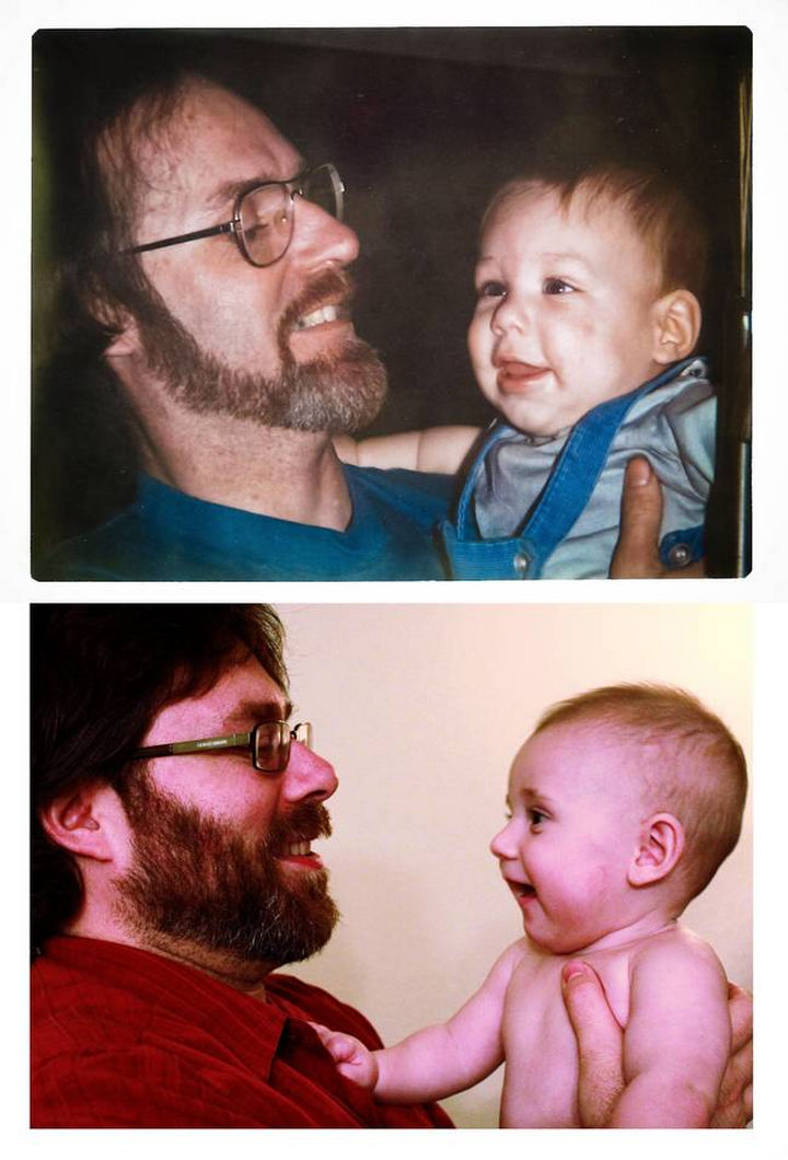 28 Identical Parent and Child Photos - Father and son at 7-months-old. Son recreates picture with his 7-month-old son.
