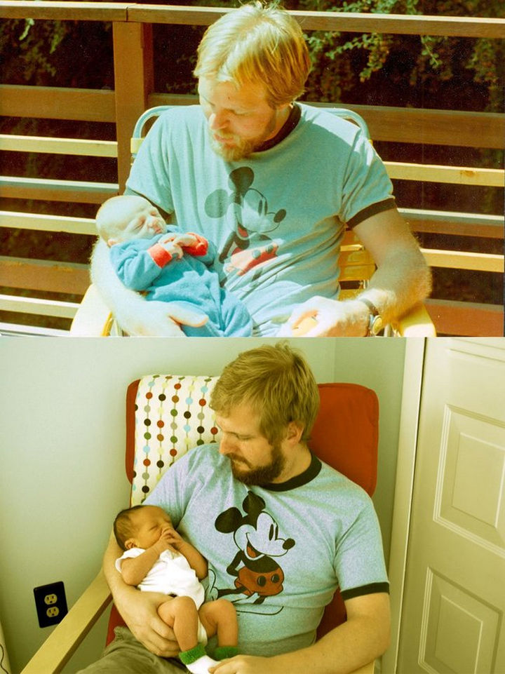 28 Identical Parent and Child Photos - 29-year-old father holding 2 week-old son. His now 29-year-old son holding his 2 week-old newborn son.