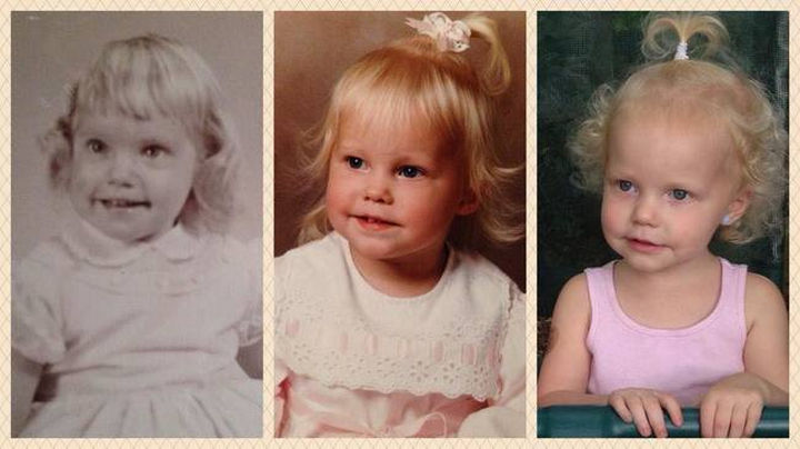 28 Identical Parent and Child Photos - Grandmother, mother, and daughter at age 2.