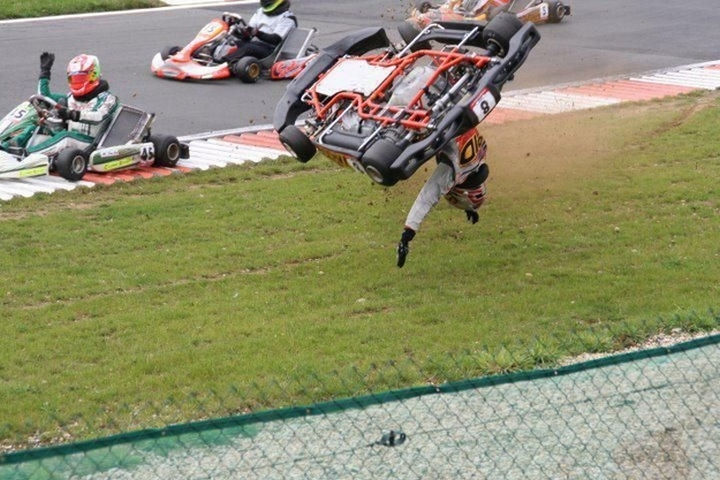 25 Photos Before Disaster Strikes - I bet he wishes his go-kart had roll bars.