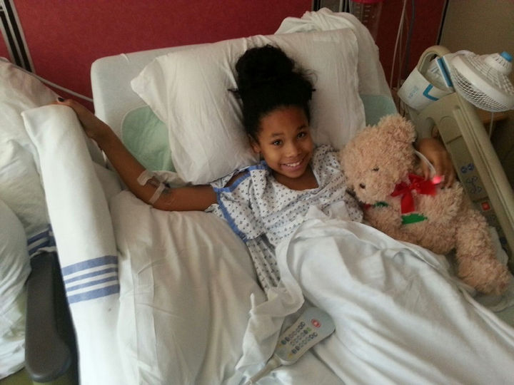 """They performed a """"Whipple procedure"""" that removed a part of her liver, pancreas, stomach, gall bladder, and part of her intestine. The tumor was sent for a biopsy but Journee was already smiling just days after the operation."""