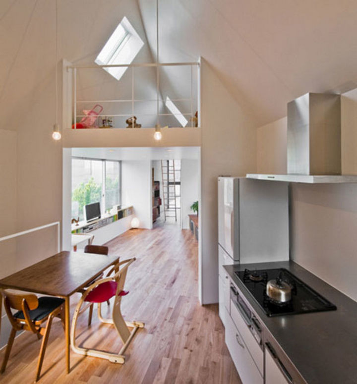 Small House Design in Japan - From the kitchen, you get a great view of the loft and the living room.