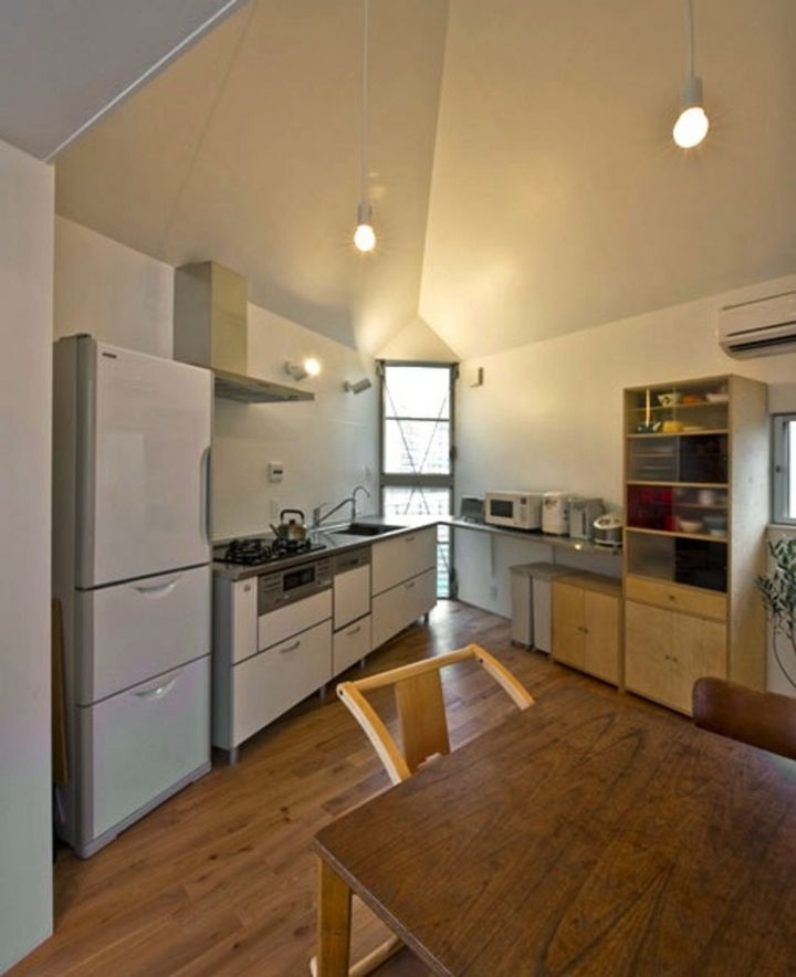 Small House Design in Japan - The kitchen and dining area offers a surprising amount of space and has all the amenities of a standard kitchen.