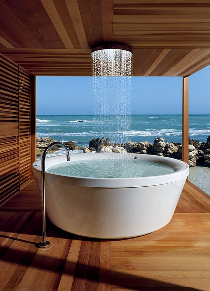 13 Beautiful Showers - Outdoor rainfall shower with ocean view.