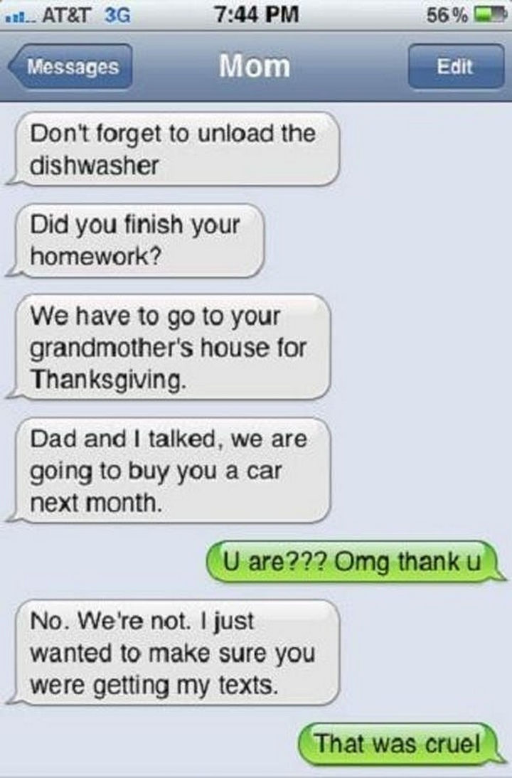 22 Hilarious Texts between Parents and Their Kids - Are you paying attention?