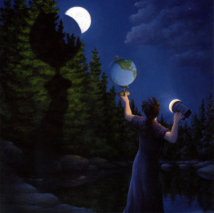 Rob Gonsalves Paintings - New Moon Eclipsed.