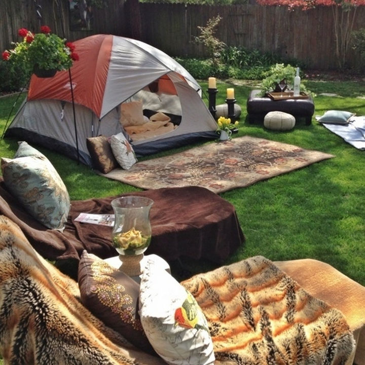 34 DIY Backyard Ideas for the Summer - Break out the tents and go camping in your backyard.