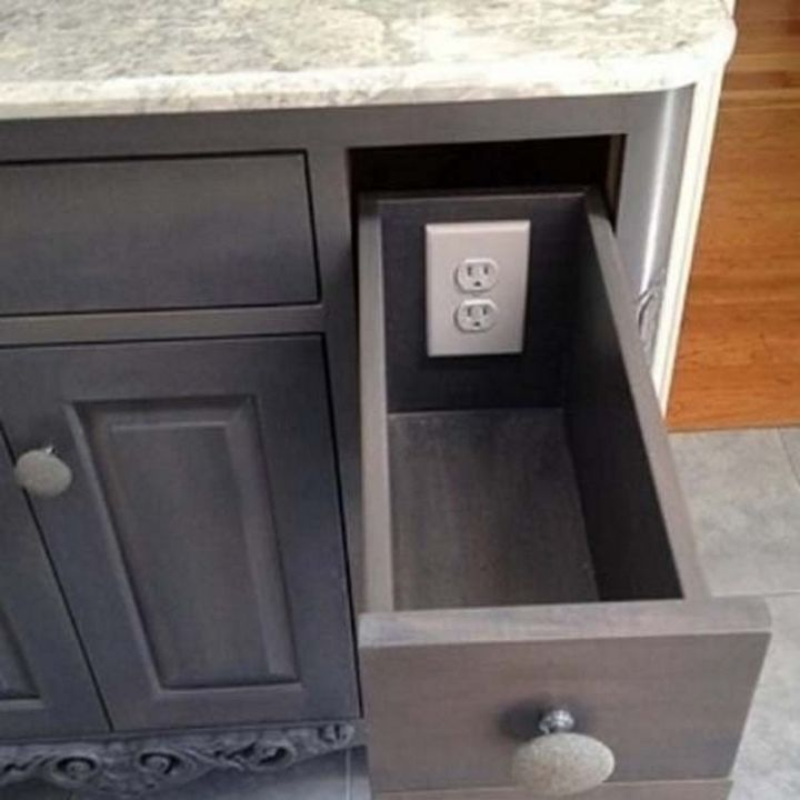 Keep your gadgets safe and out of view by installing electrical outlets inside a drawer - 37 Home Improvement Ideas