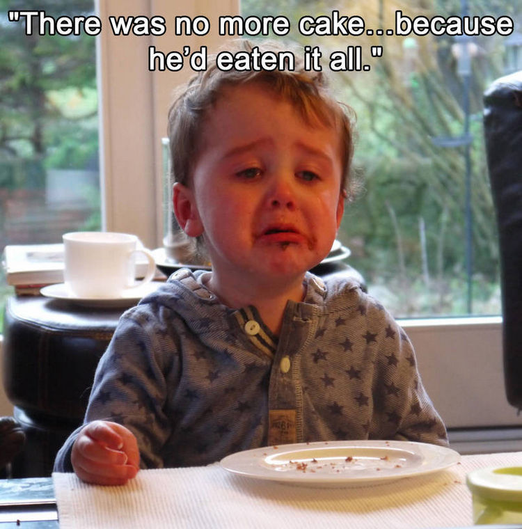 37 Photos of Kids Losing It - There was no more cake...because he'd eaten it all.