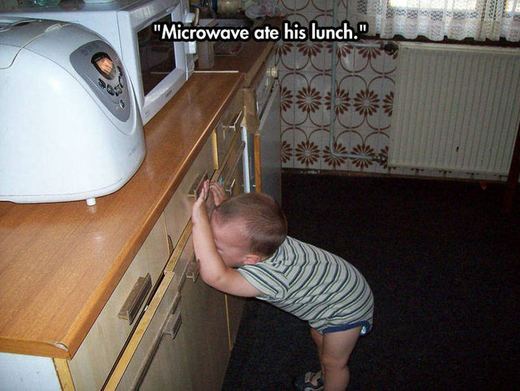 37 Photos of Kids Losing It - Microwave ate his lunch.