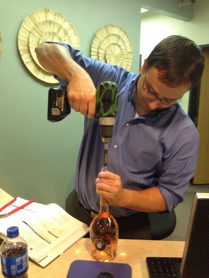 51 Crazy Life Hacks - Even without a corkscrew, people will always find a way to open a wine bottle.