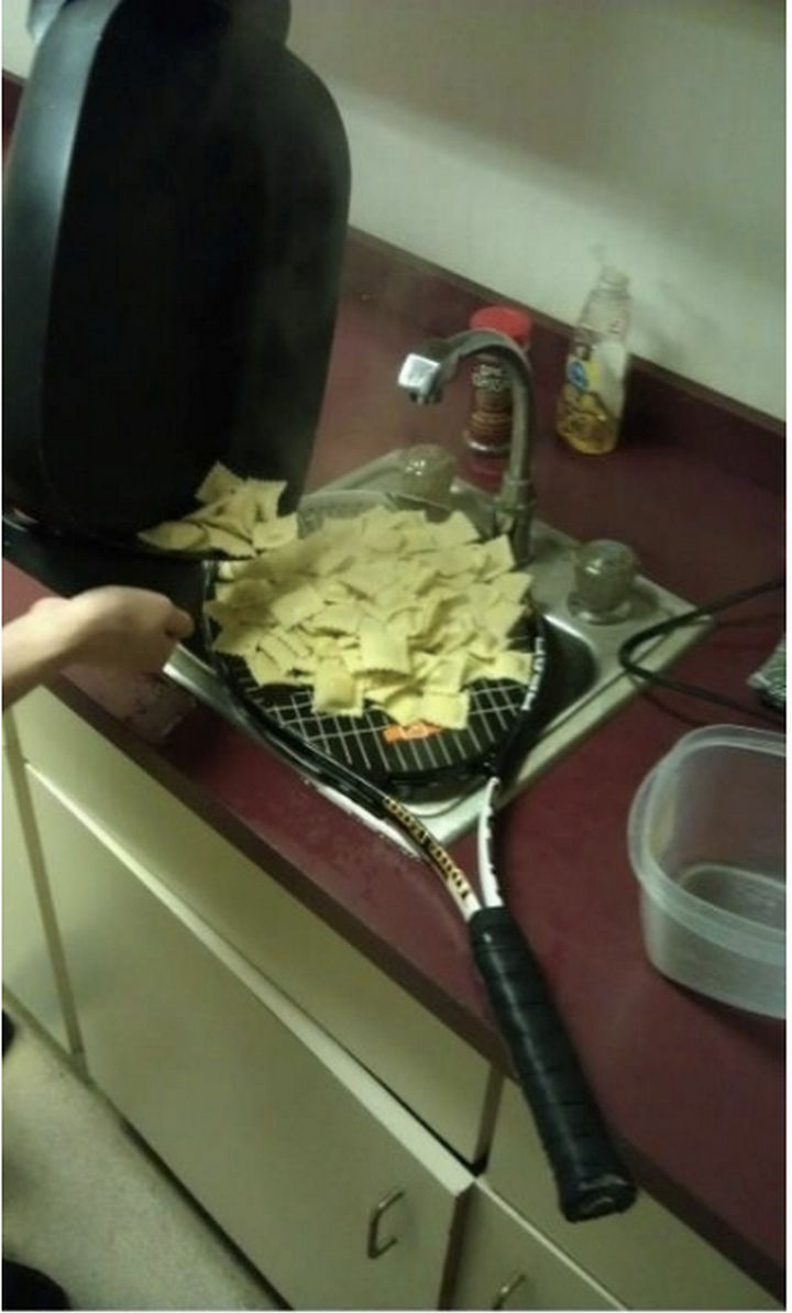 51 Crazy Life Hacks - Draining pasta is now a sport.