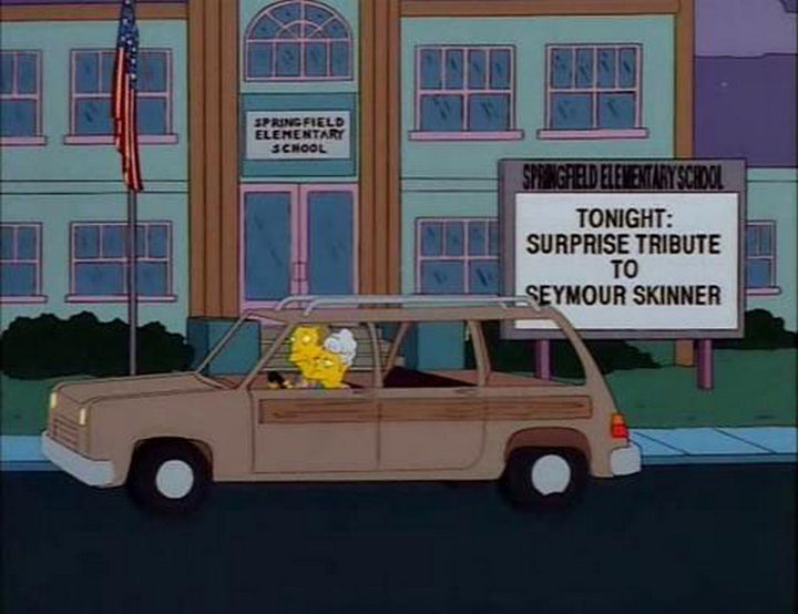 "31 Funny Simpsons Signs - ""Tonight: Surprise tribute to Seymour Skinner."""
