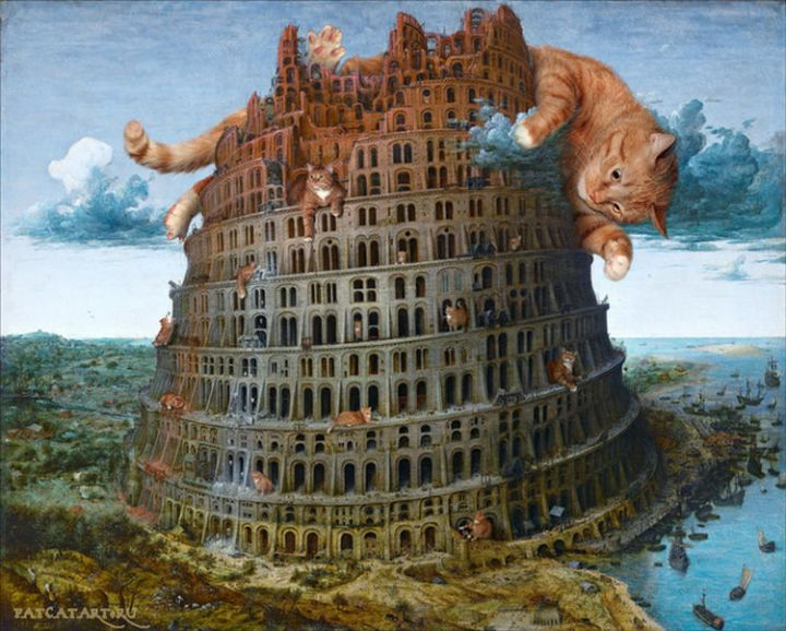 Fat Cat Photobombs Famous Paintings - The Tower of Babel, Pieter Bruegel the Elder (1563).