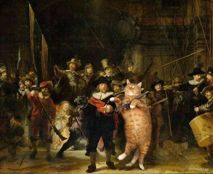 Fat Cat Photobombs Famous Paintings - The Night Watch, Rembrandt Harmenszoon van Rijn (1642).