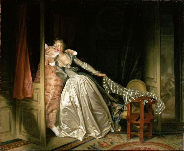 Fat Cat Photobombs Famous Paintings - The Stolen Kiss, Jean-Honore Fragonard (1788).