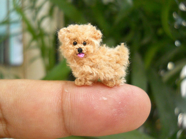 Look at this cute crochet dog's little tongue!