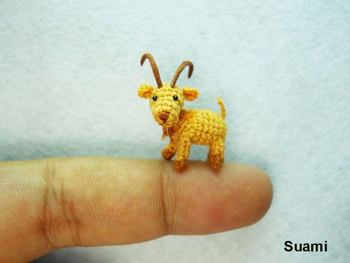 Mini crochet fawn goat.
