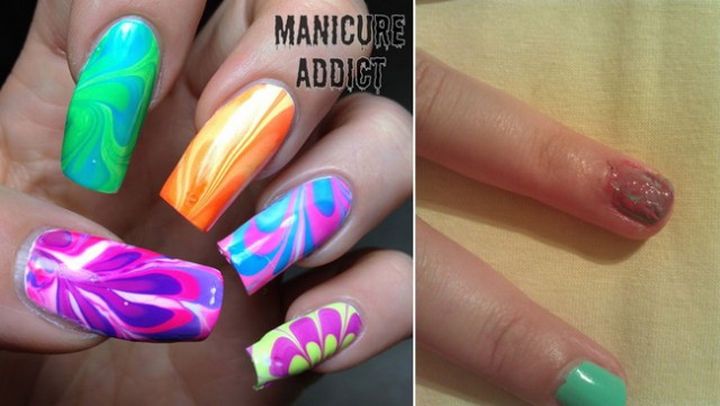 """18 Pinterest Beauty Fails - Is it just me or did the colors just """"marble"""" together."""
