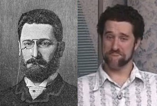 20 Celebrity Historical Doppelgangers - Dustin Diamond and this unknown man.