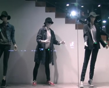 Girl Posing as a Mannequin Performs Amazing Dubstep Routine.