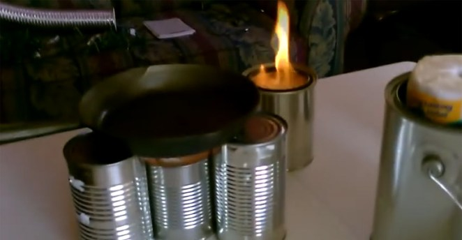He Created metal can heaters and a DIY Camping Stove With a Can and Toilet Paper.