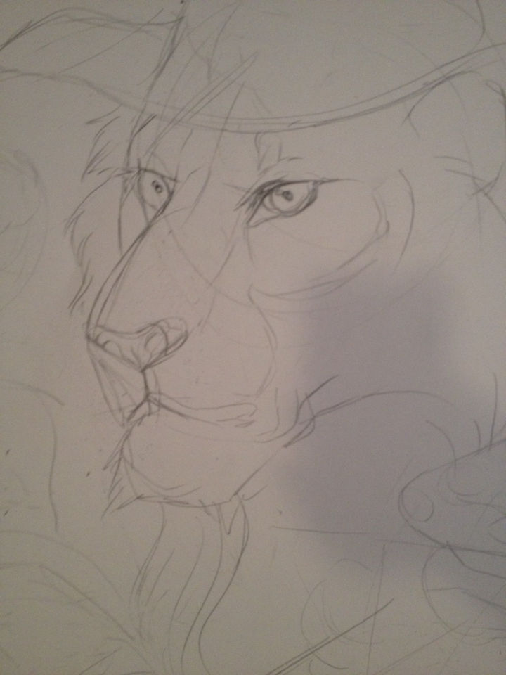 On the first day, a quick pencil sketch for the characters in the drawing.