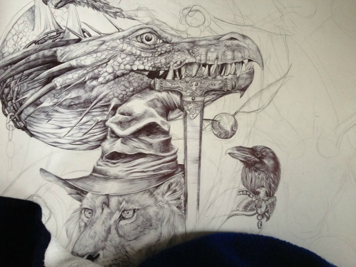 On day 5, she begins working on the dragon's body and minor touches to the raven.