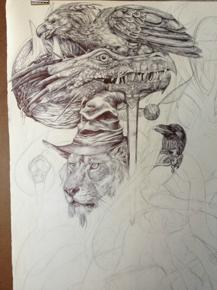 By day 6, Fawkes the Phoenix was sketched and detailed and is now completed.