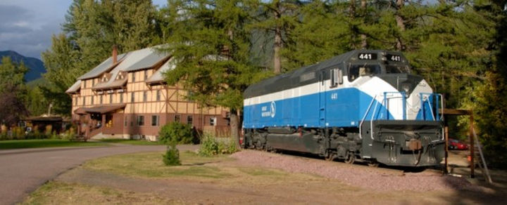 The Great Northern 441 is just one of the many other restored train carson display at the Izaak Walton Inn.