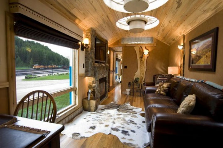 The living area has a great view of the tracks with trains rolling by often.