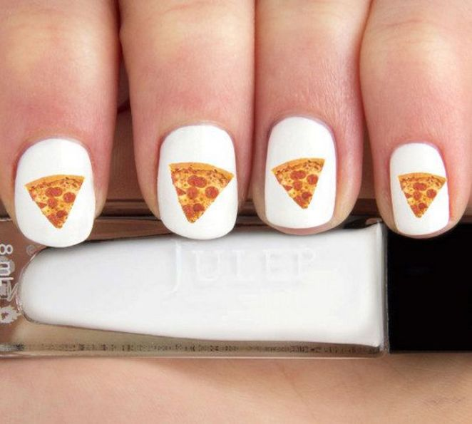 13 Food Nails Inspired by the Love of Food - Pepperoni pizza nail art.