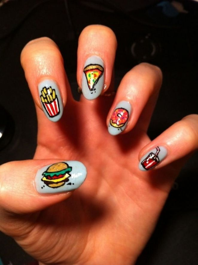 13 Food Nails Inspired by the Love of Food - Fast food nail art.