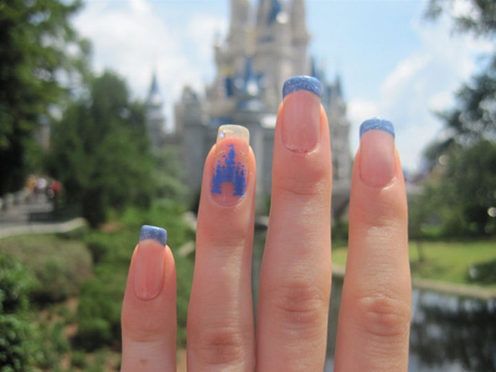 18 Disney Nails - Cinderella Castle at Walt Disney World.