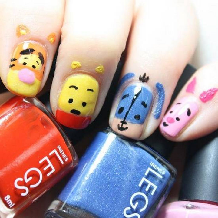 18 Disney Nails - Tigger, Winnie the Pooh, Eeyore, and Piglet.