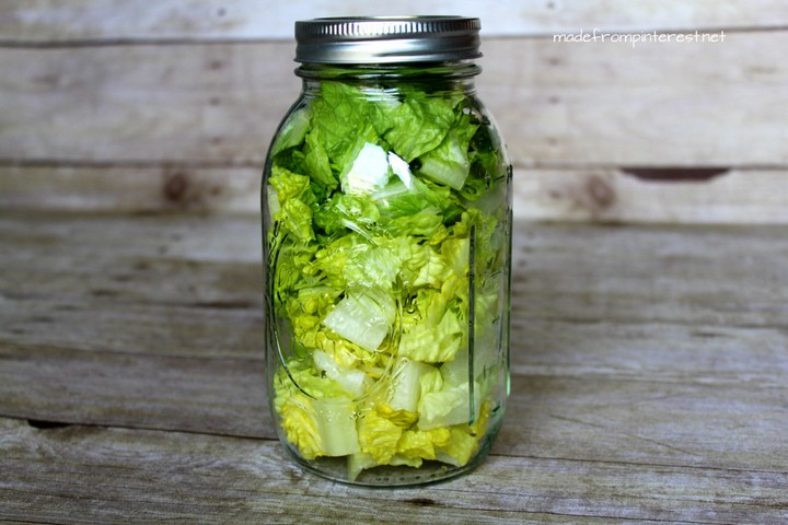 28 Food Storage Hacks - Store chopped lettuce in a Mason jar for instant salads.