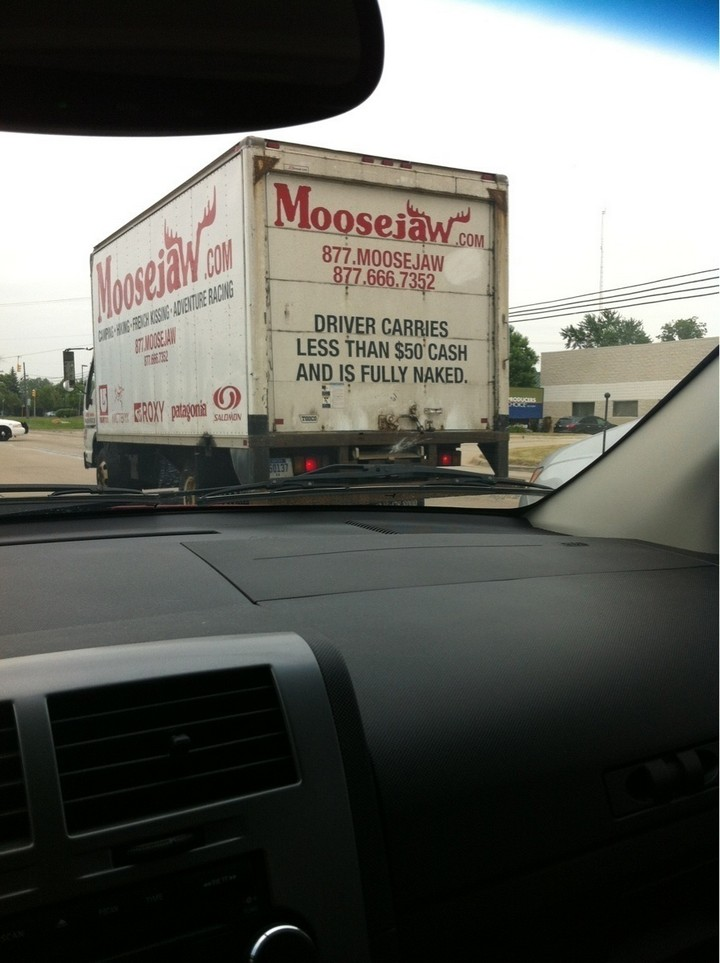 31 Funny Truck Signs - I don't want to know where he/she keeps their wallet.